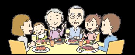 大家族で食事