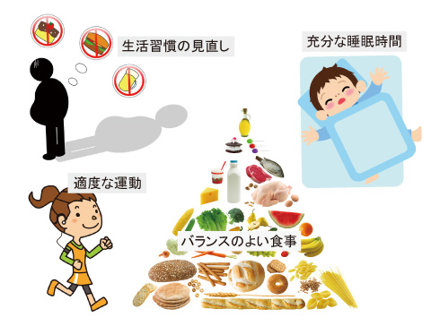 栄養バランスのよい食事・適度な運動・充分な睡眠時間・生活習慣の見直し
