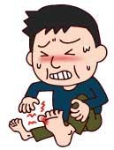 痛風発作に痛がる男性