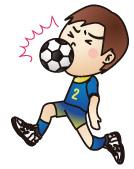 顔面にボールをうけるサッカー少年